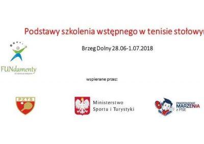 Narodowy Program Rozwoju Tenisa Stołowego 2018. Szkolenie w Brzegu Dolnym 28.06-1.07.2018 01